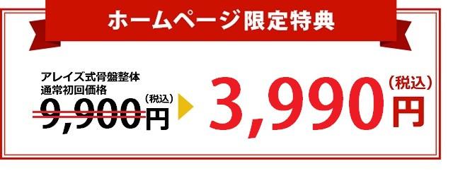 ホームページ限定特典。通常初回価格8800円→2990円