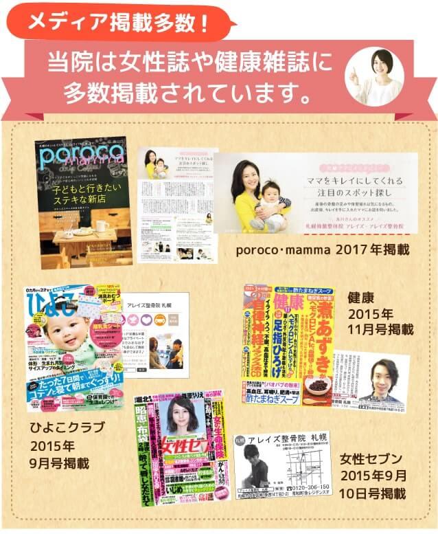 当院は女性誌や健康雑誌に多数掲載されています